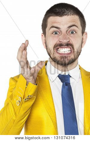 Angry Businessman Shows His Emotions