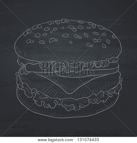 Burger with meat, cheese and lettuce. burger hand drawn in chalk on a blackboard. burger vector sketch illustration.