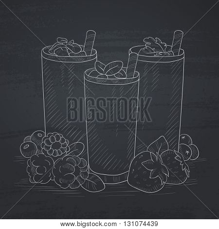 Various fresh berries smoothies in glasses with straw. Smoothies hand drawn in chalk on a blackboard. Smoothies vector sketch illustration.