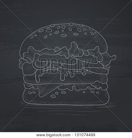 Hamburger with meat, cheese and lettuce. Hamburger hand drawn in chalk on a blackboard. Hamburger vector sketch illustration.