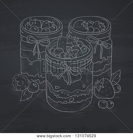 Jam in glass jars and fresh berries. Jam jar hand drawn in chalk on a blackboard. Jam jar vector sketch illustration.