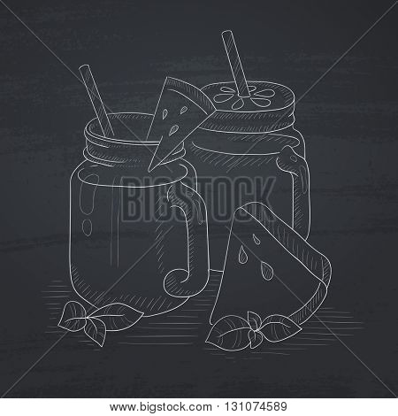 Watermelon smoothie in mason jar with mint and straw. Watermelon smoothie hand drawn in chalk on a blackboard. Watermelon smoothie vector sketch illustration.