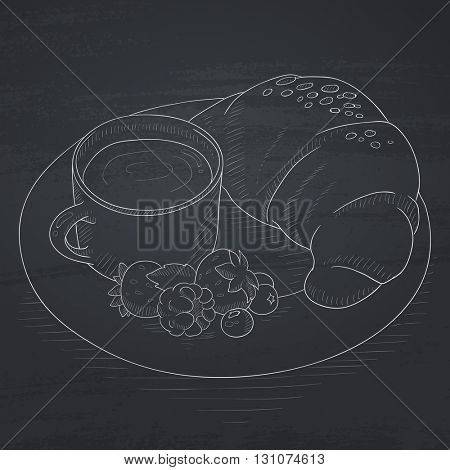 Breakfast with cup of coffee, croissant and berries on plate. Breakfast hand drawn in chalk on a blackboard. Breakfast vector sketch illustration.