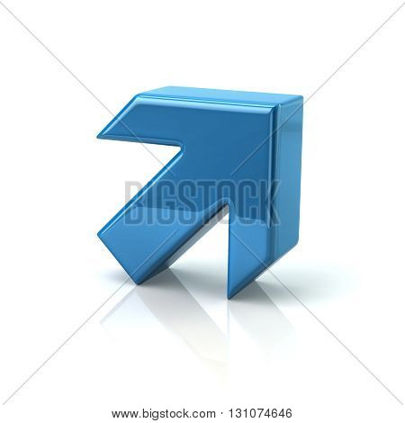 3d illustration of blue arrow isolated on white background