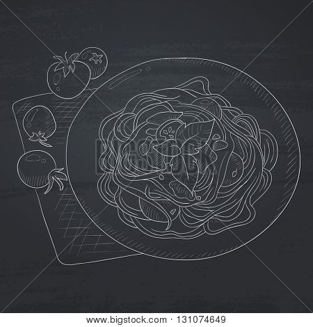 Spaghetti with basil and tomatoes on plate on napkin. Spaghetti hand drawn in chalk on a blackboard. Spaghetti  vector sketch illustration.