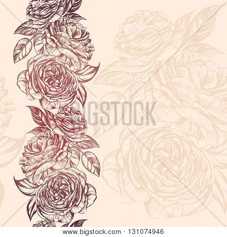 abstract floral blooming rose branch background texture hand drawn vector illustration sketch