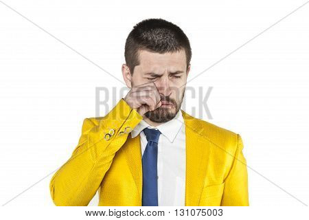 Businessman Wipes Tears