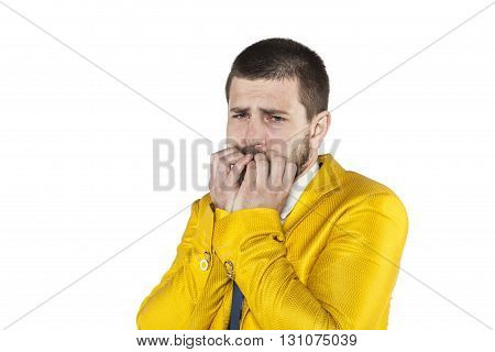 Scared Businessman Chewing Nails