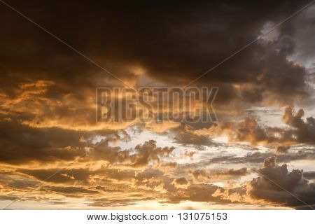 Sunset Sky And Glowing Cloud, Twilight Sky Before Rain Weather Background