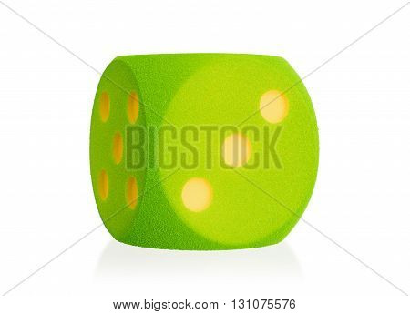 Large Green Foam Die Isolated - 3