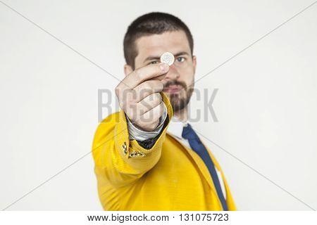 Businessman Shows One Euro
