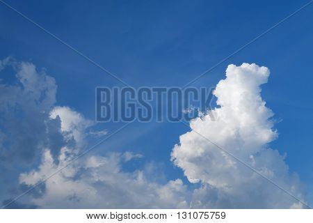 Large Cumulus Cloud On Clear Blue Sky Background