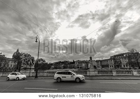 ROME - January 12: Nice view of the river Tiber January 12 2016 in Rome Italy.