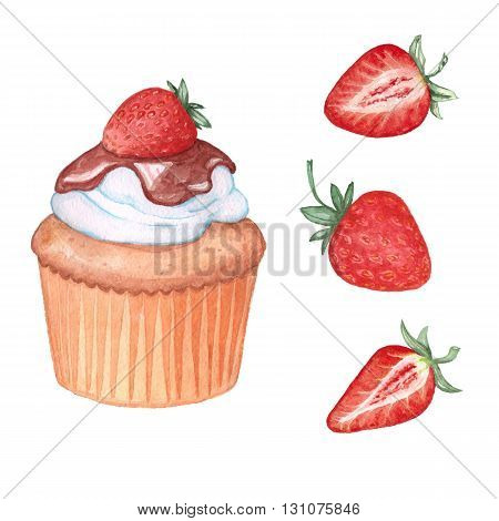 Strawberry set: muffin and 3 strawberries. Watercolor painting. Handmade drawing. Isolated on white