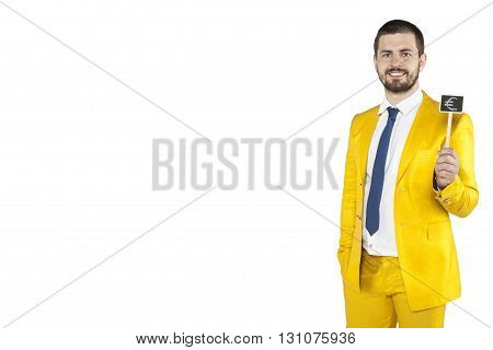 Lot Of Copy Space Next To The Businessman In Gold Suit