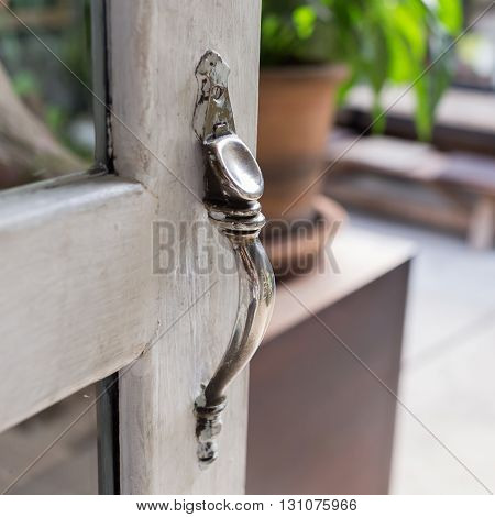 Open The Door, Close-up Door Handle Style Ancient On Vintage White Wooden Door
