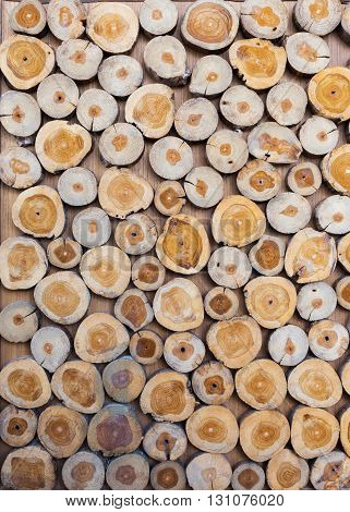 Small Piece Of Wood Logs Used For Design Decorated Interior, Wood Texture Background