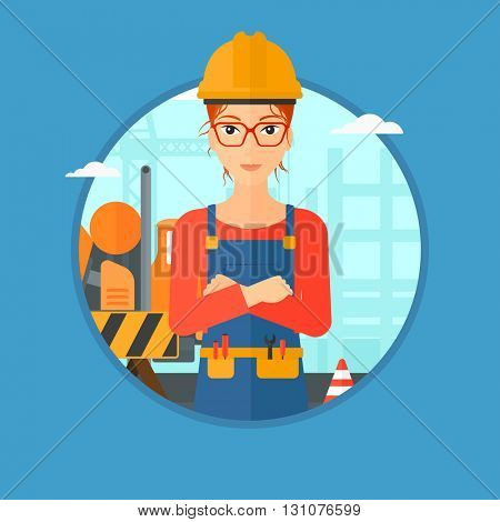 Builder standing with arms crossed. Confident builder on a background of construction site with concrete mixer and road barriers. Vector flat design illustration in the circle isolated on background.