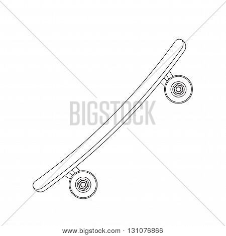 Skateboard. Sports tool to perform various tricks. Vehicle. Icon skateboard-style line. Vector illustration.