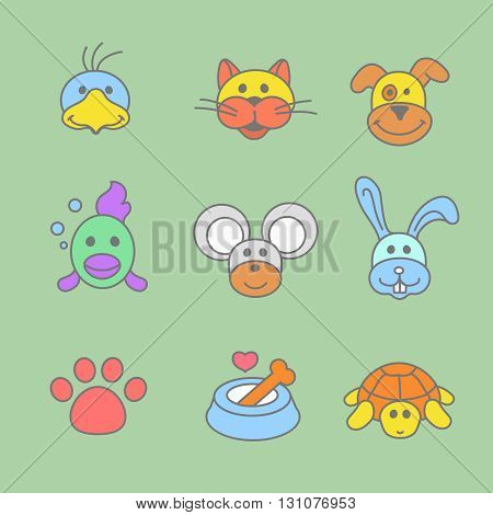 Pets icon set in thin line style