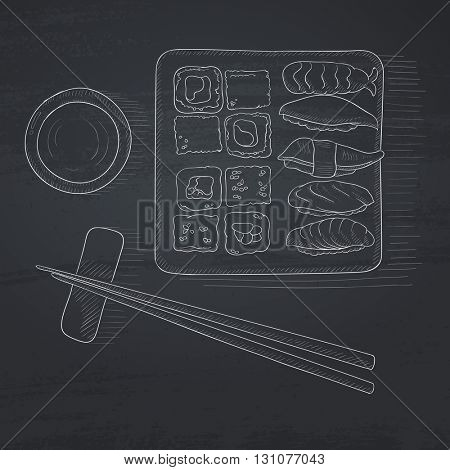 Various kinds of sushi served on a plate. Sushi hand drawn in chalk on a blackboard. Sushi vector sketch illustration.