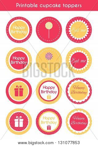 Printable cupcake toppers. Vector set of cupcake toppers, labels for birthday party