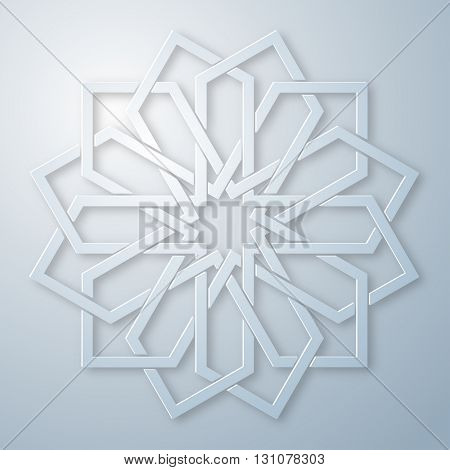Geometric round arabic ornament with intertwining lines. Element for design in oriental style. Vector illustration.