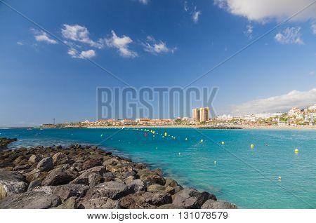 Bay of Las Vistas beach in Los Christianos town Tenerife Canary islands Spain