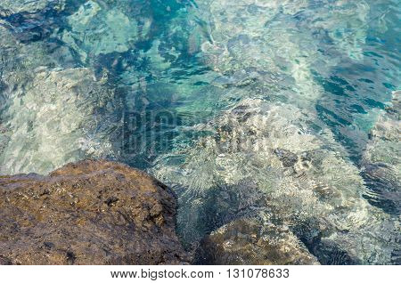 Defocused image of rock and transparent turquoise water ripple on surface