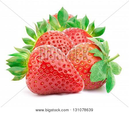 Five perfectly cleaned strawberries with leaves isolated on the white background with clipping path