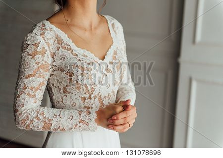 Wedding. Bride. Preparations. Wedding Dress.
