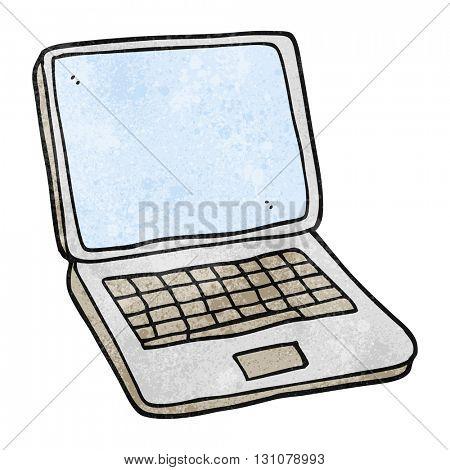 freehand textured cartoon laptop computer