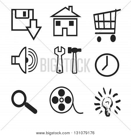 Silhouettes of various web icons on a white background