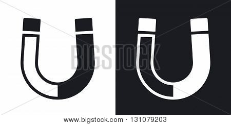 Vector magnet icon. Two-tone version on black and white background