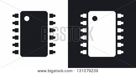Vector microchip icon. Two-tone version on black and white background