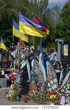 MAY27,2015 in KIEV,UKRAINE .Lesnoye (Forest) Cemetery.Graves of Ukrainan army and nationalist formations soldiers died during Ukrainian Civil War 2014-16 at Donbas. At May 23,2015 in Kiev,Ukraine