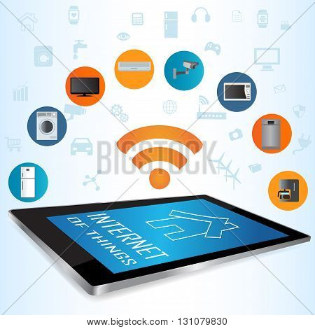 Modern digital tablet PC with Smart House Apps. Internet of things concept illustration.Controlling your home appliances with tablet Apps .Smart house technology system with centralized control of lighting heating ventilation and air conditioning security