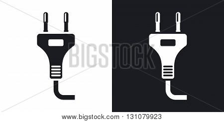 Vector power plug icon. Two-tone version on black and white background