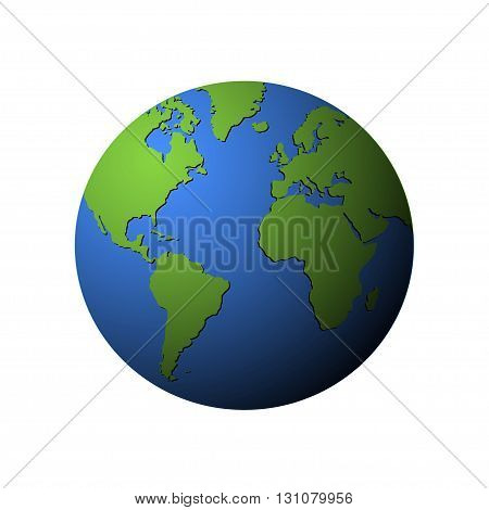 Vector earth globe isolated on white. Green continents on earth globe.