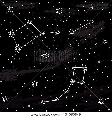 Background of constellation of small and large bears. Constellation of small and large bears on the dark night sky with stars. Vector background for card, poster,, greeting, invitation cards.