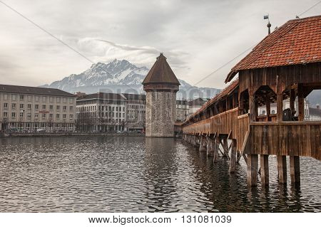 Lenticular clouds and the Chapel Bridge in Luzern (Lucerne) Switzerland
