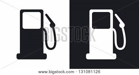 Vector gas station icon. Two-tone version on black and white background