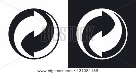 Vector green dot recycling sign. Two-tone version on black and white background