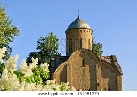 Closeup of the medieval Orthodox church of Peter and Paul at Slavna in Veliky Novgorod Russia. Focus at the church architectural landscape