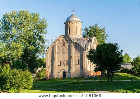 The medieval Orthodox church of Peter and Paul at Slavna in Veliky Novgorod Russia. Architectural spring landscape