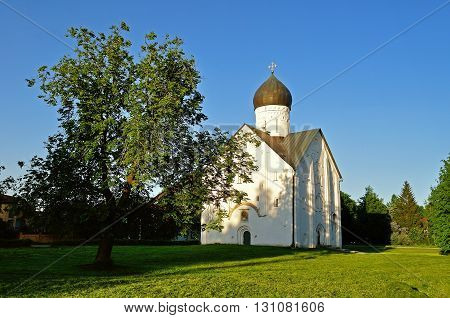 The ancient church of the Transfiguration of Our Savior on Ilin street in Veliky Novgorod Russia - architectural landscape