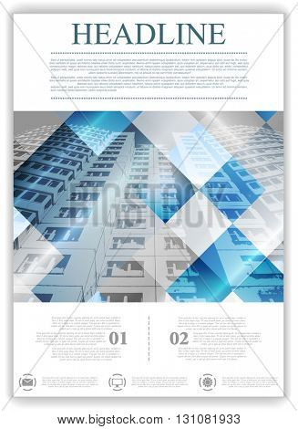 Abstract geometric brochure template layout with skyscraper. Vector background for print flyers, brochure, web graphic design or booklet