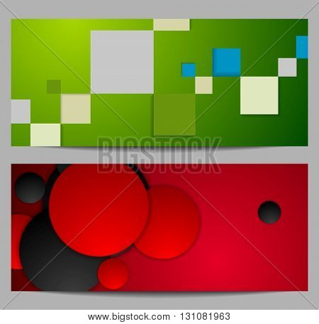 Bright tech geometric banners with squares and circles. Tech geometric vector graphic design
