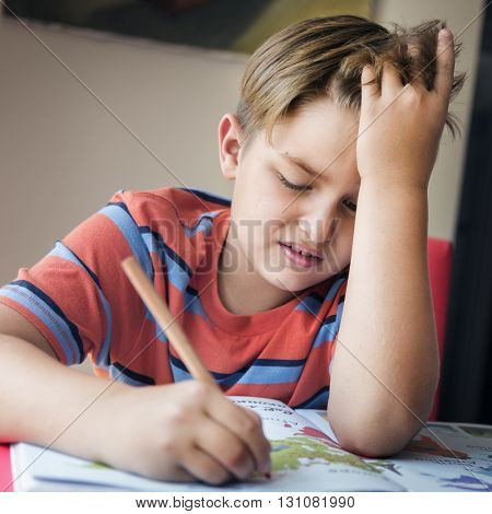 Boy Doing Homework Hard Task Concept