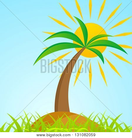 Tropical palm tree on grass island with shiny sun. Paradise vector background. Palm and sun graphic illustration